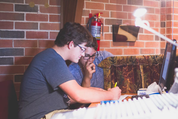 High School boys working